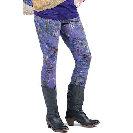 Batik Leggings- Eggplant