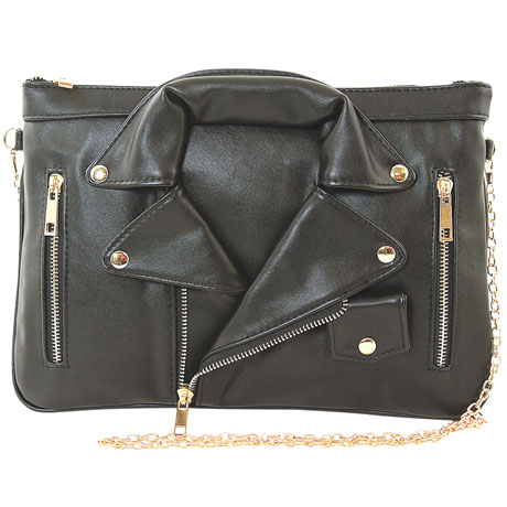 Black Leather Jacket Crossbody