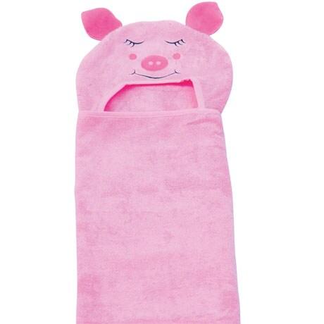Hooded Children Towels- Piggy