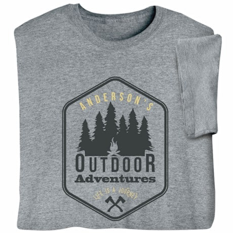 "Personalized ""Your Name"" Outdoor Adventures Life is a Journey T-Shirt"