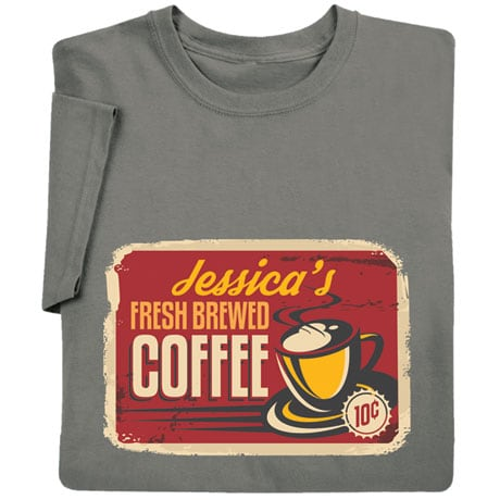 Personalized 'Your Name' Fresh Brewed Coffee Retro Shirt