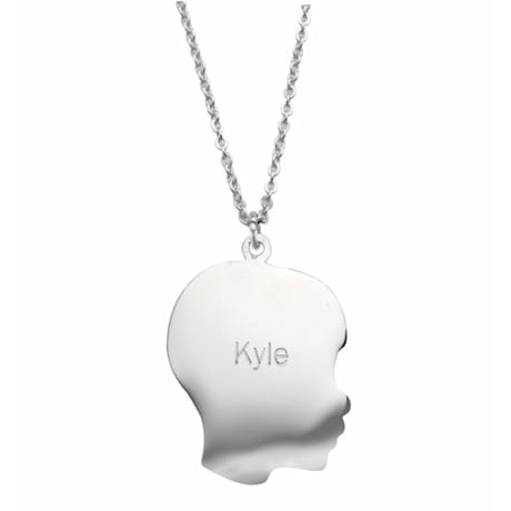 Personalized Silhouette Pendant - Boy, Engraved