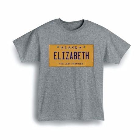 Personalized State License Plate Shirts - Alaska