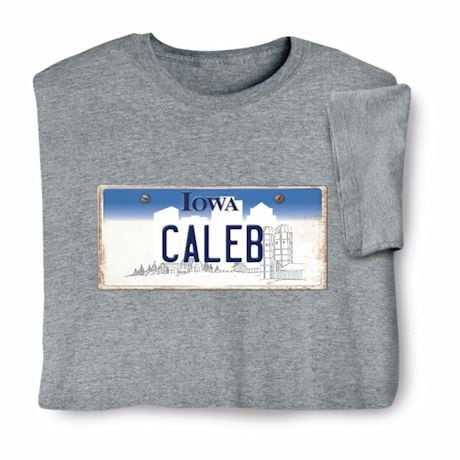 Personalized State License Plate Shirts - Iowa