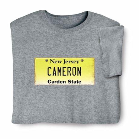 Personalized State License Plate Shirts - New Jersey