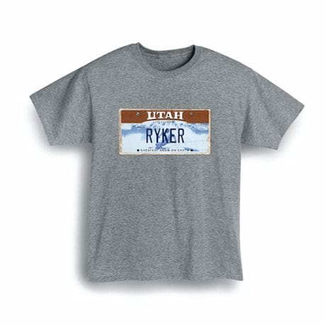 Personalized State License Plate Shirts - Utah