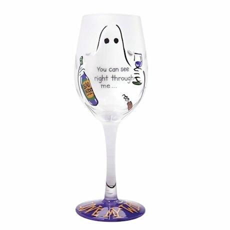 Handpainted Halloween Wine Glass
