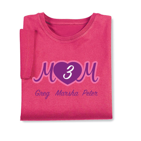 Personalized Mom's Pink Heart Cursive Number of Kids Shirt - Mother's Day Gift