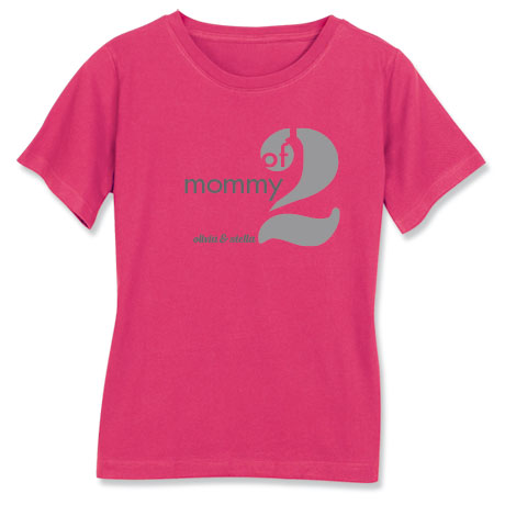 Personalized Mommy of 2 T-Shirt
