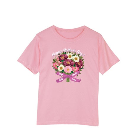 Personalized Four Name Mother's Day Bouquet Arrangement T-Shirt