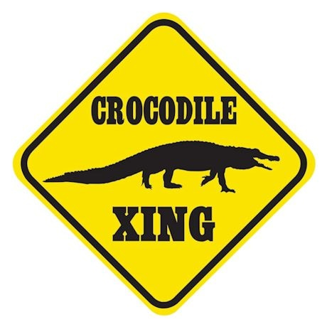 Crocodile Crossing Sign