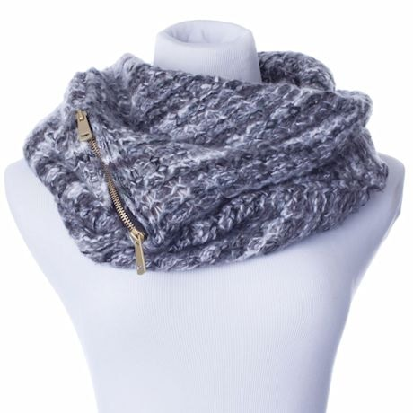 Infinity Scarf With Hidden Pocket - Heathered Grey