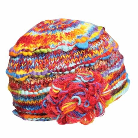 Recycled Knit Hat with Silk Accents