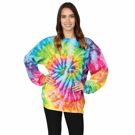 Tie-Dye Crew Fleece Sweatshirts -White