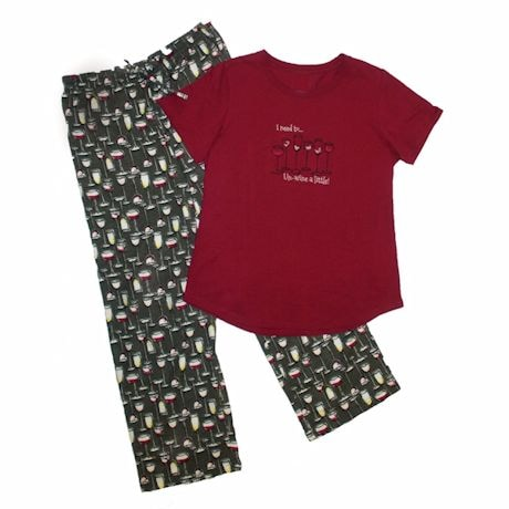 I Need to Un-Wine A Little Printed Pajama Top and Bottom Sleep Set