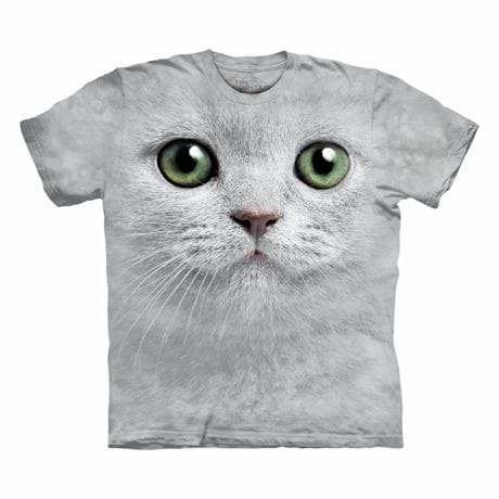 Big-Face Cat T-Shirts- White
