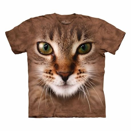 Big-Face Cat T-Shirts- Tan