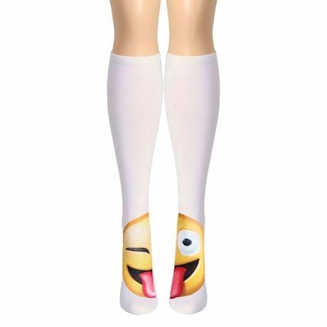 Emoji Wink Knee High Socks