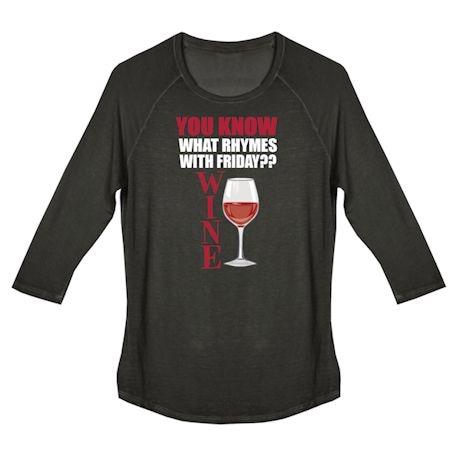 Wine Humor Ladies Tees - Rhymes With Friday