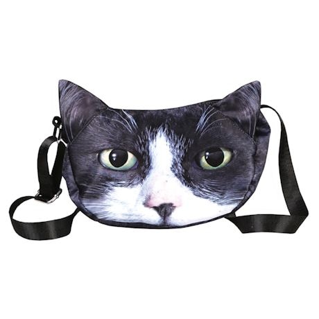 Sublimated Cat Face Hobo Bag - Tuxedo