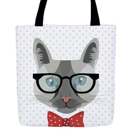 Hipster Kitty Totes - Gray