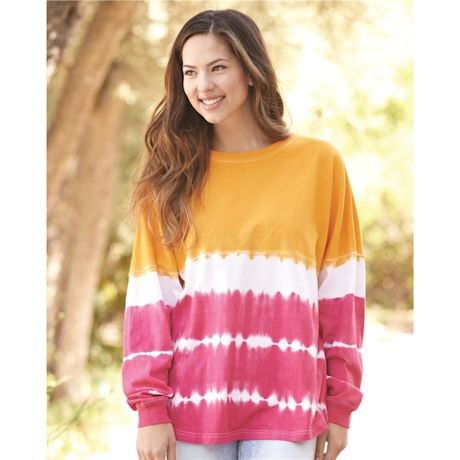 Women's Long-Sleeve Tie Dye Jersey Top