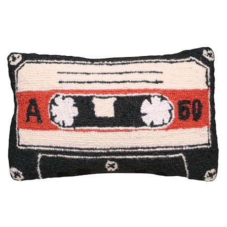 Retro Hooked Wool Pillows - Cassette Tape
