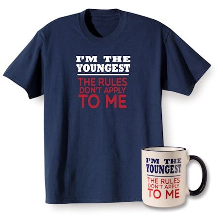 Rules Youngest T-shirt and Mug Gift Set