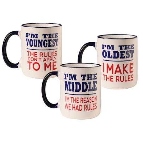Rules Oldest, Middle, Youngest Mug Set