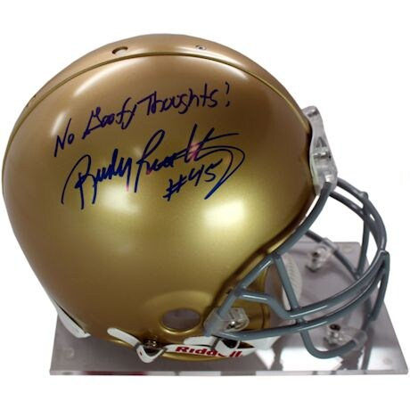 """Rudy Ruettiger Signed Authentic Notre Dame Full Size Helmet w/ """"No Goofy Thoughts"""" insc"""