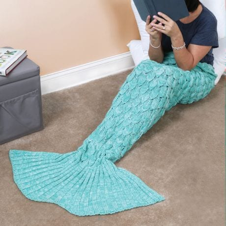 Mermaid Tail Knit Blanket - Aqua