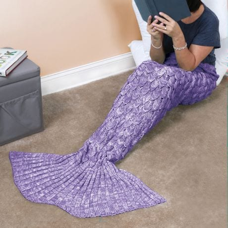 Knit Mermaid Tail Knit Blanket - Purple
