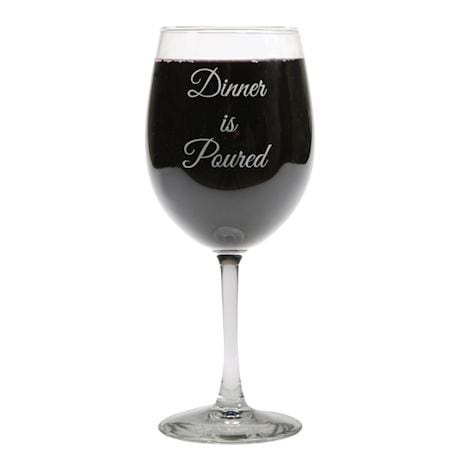 Dinner Is Poured Wine Glass
