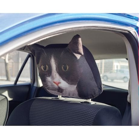 Black & White Tuxedo Cat Headrest Covers - Set of 2