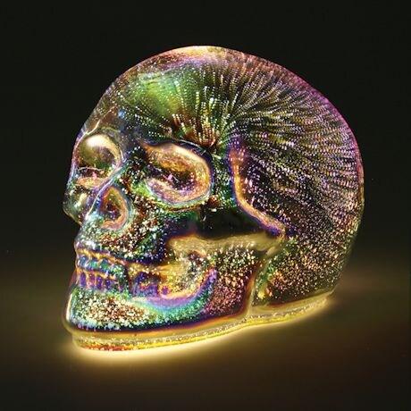 Mercury Glass Led Skull Accent Light