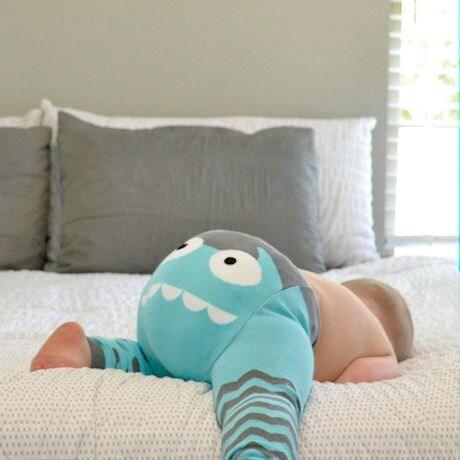 Children's Monster-Bottom Leggings - Blue