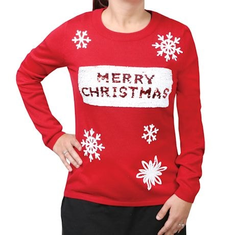 Sequin-Swipe Holiday Sweater