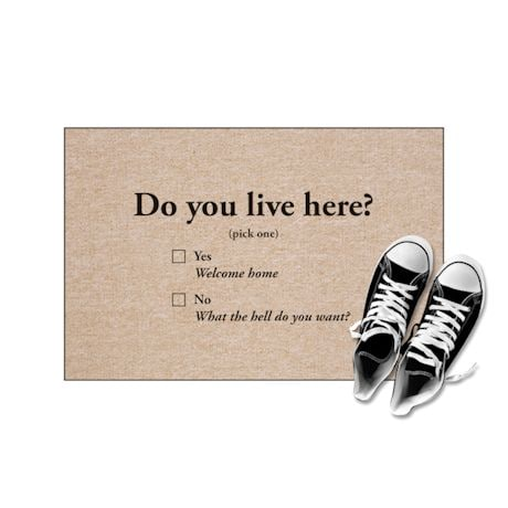 High Cotton Front Door Welcome Mats - Do you Live Here?