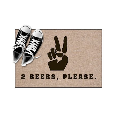 High Cotton Front Door Welcome Mats - Peace Sign, 2 Beers Please