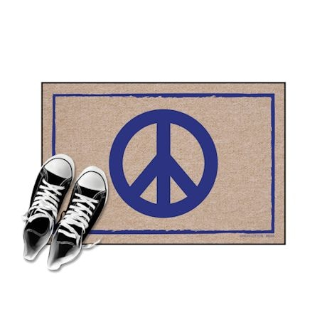 High Cotton Front Door Welcome Mats - Peace Sign Symbol