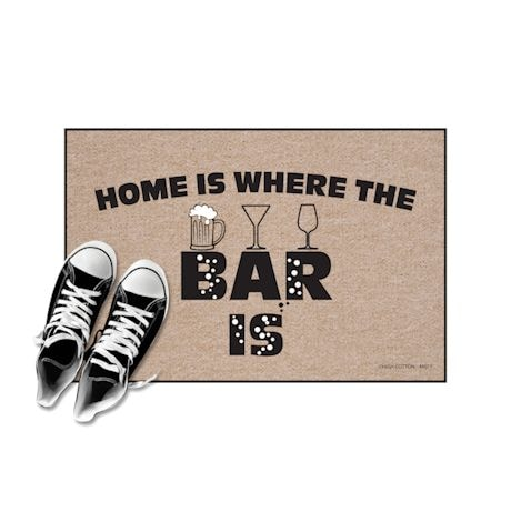 High Cotton Front Door Welcome Mats - Home is where the Bar Is