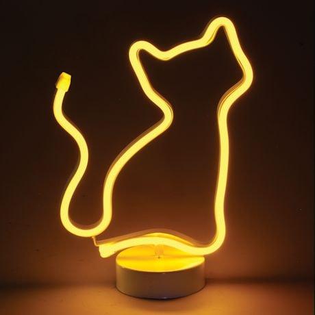 Led Light Yellow Cat Neon-Style Lamp