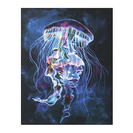 "Led Light Up Jellyfish Picture - Canvas Wall Art - 15.75"" x 19.75"""