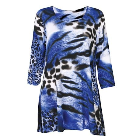 2-Pocket Animal Print Swing Tunic - Blue Tiger