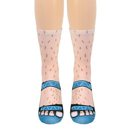 Flip Flops Tan Crew Socks - Blue