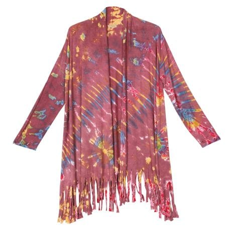Tie Dyed Fringed Cardigan