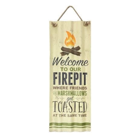 "Welcome To Our Fire pit Tin Sign - Indoor/Outdoor - 27.5"" High"