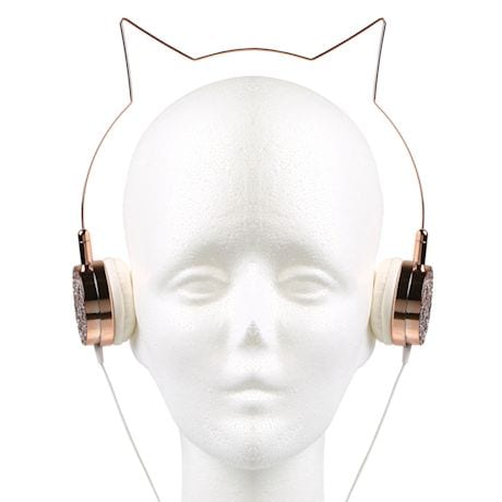 Rose Gold And Glitter Kitty Headphones