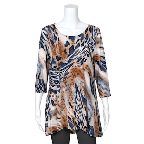 2-Pocket Animal Print Swing Tunic - Tan Leopard