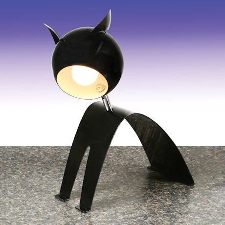 Cat Shaped Black Metal Desk Lamp - 14""